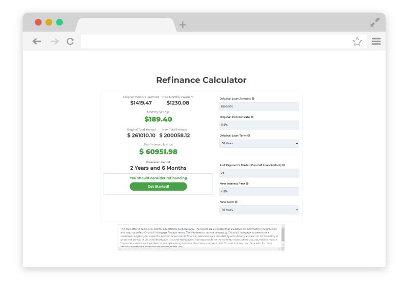refinance calculator screenshot